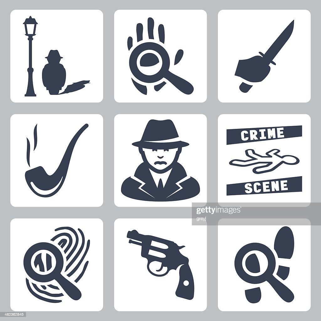 Vector detective icons set
