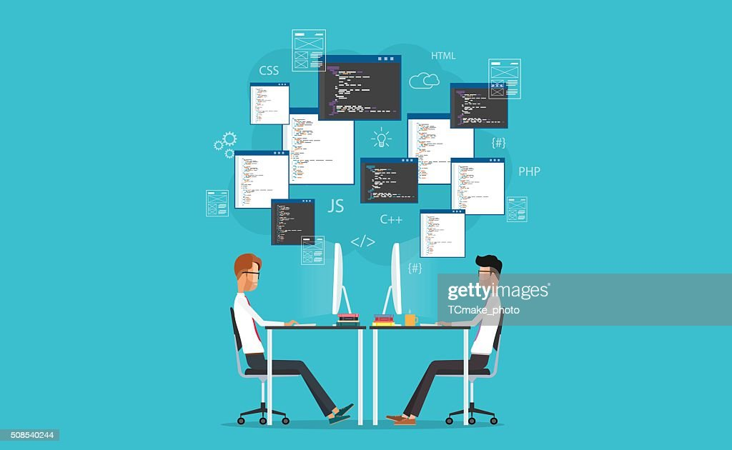 vector developer working on workplace. develop for website and application
