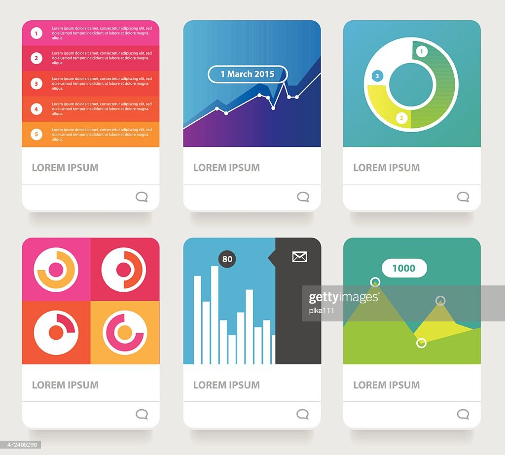vector diagram infographics set cards collection- growth analytics, sales progress