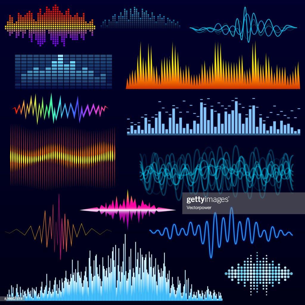 Vector digital music equalizer audio waves design template audio signal visualization illustration