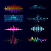 Vector digital music equalizer audio waves design template audio signal visualization signal illustration