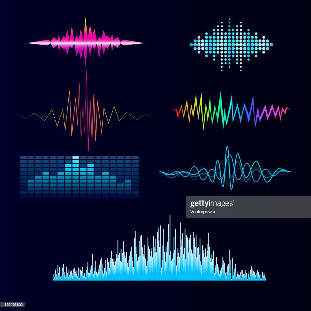Vector digital music equalizer audio waves design template audio signal visualization signal illustration