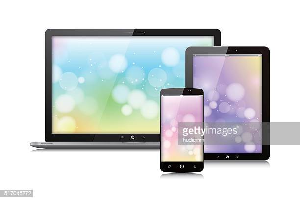 Vector Digital Tablet ,laptop and smart phone isolated on white