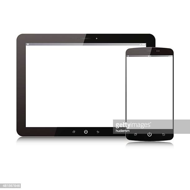 Vector Digital Tablet PC and smart phone isolated on white