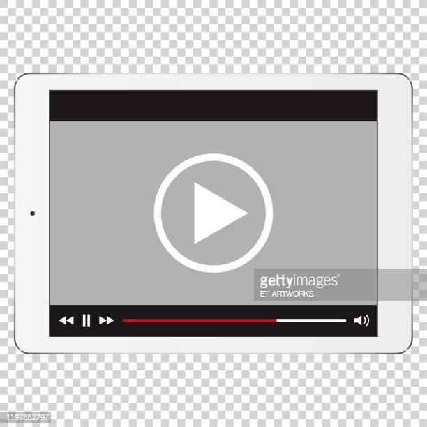 illustrazioni stock, clip art, cartoni animati e icone di tendenza di modello di tablet digitale vettoriale per video - schermo tattile