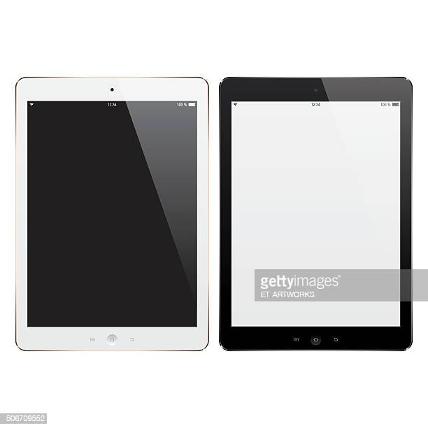 vector digital tablets with blank screen - model stock illustrations
