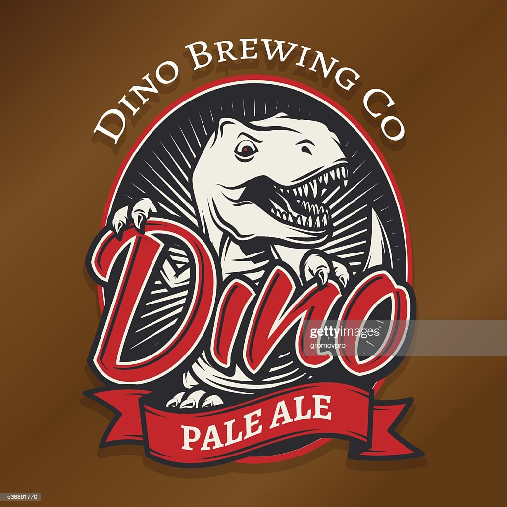 Vector dino craft beer print concept. T-rex bar insignia