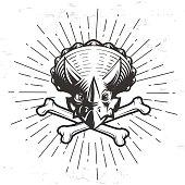 Vector dino template. Triceratops sport mascot design. Hipster bone crest