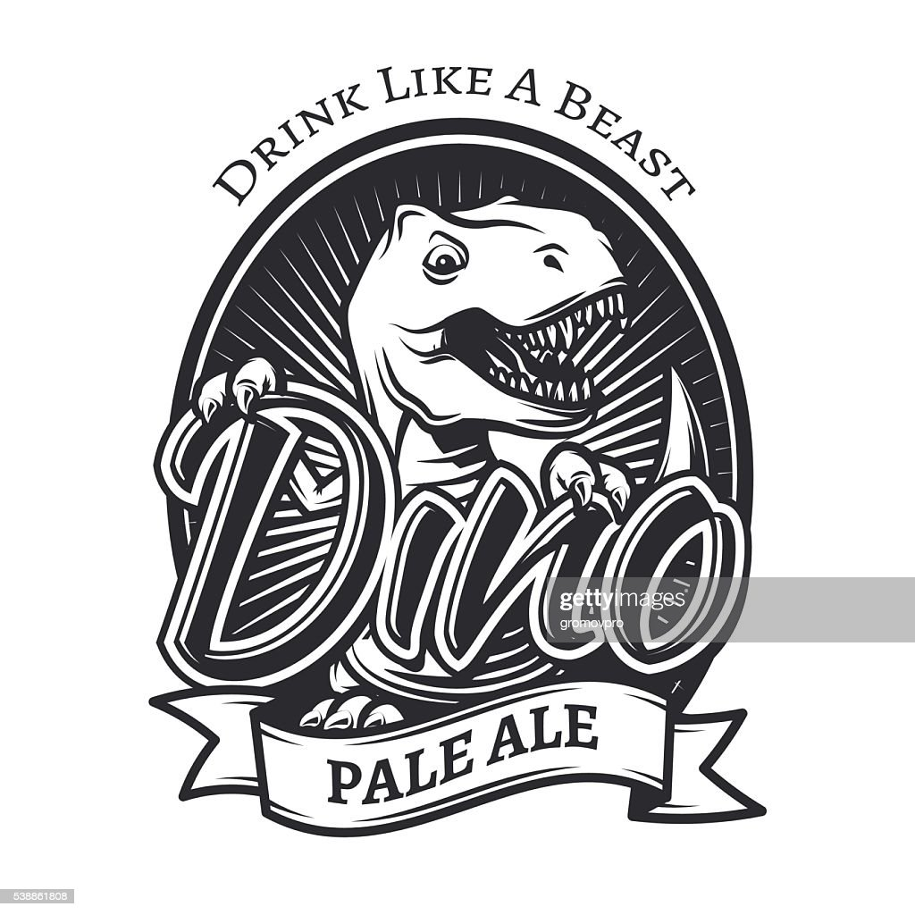 Vector dinosaur craft beer brewery label concept. T-rex bar