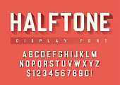 Vector display font design with halftone shadow, alphabet, chara