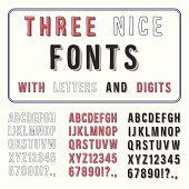 Vector display of three font colors of alphabet and digits
