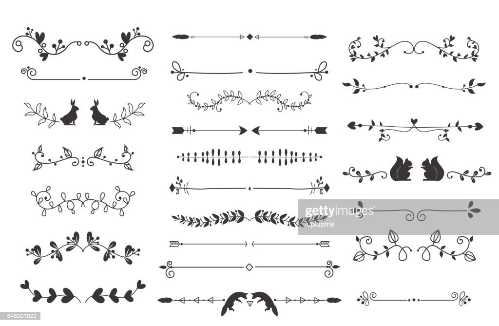 Vector dividers calligraphic line element