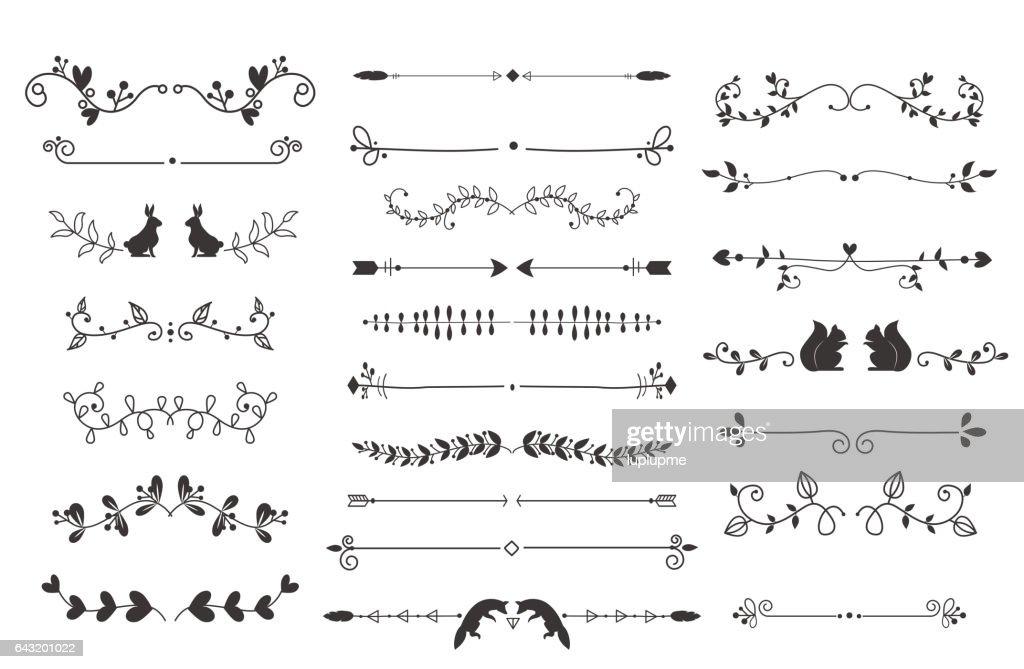 Vector dividers calligraphic line element