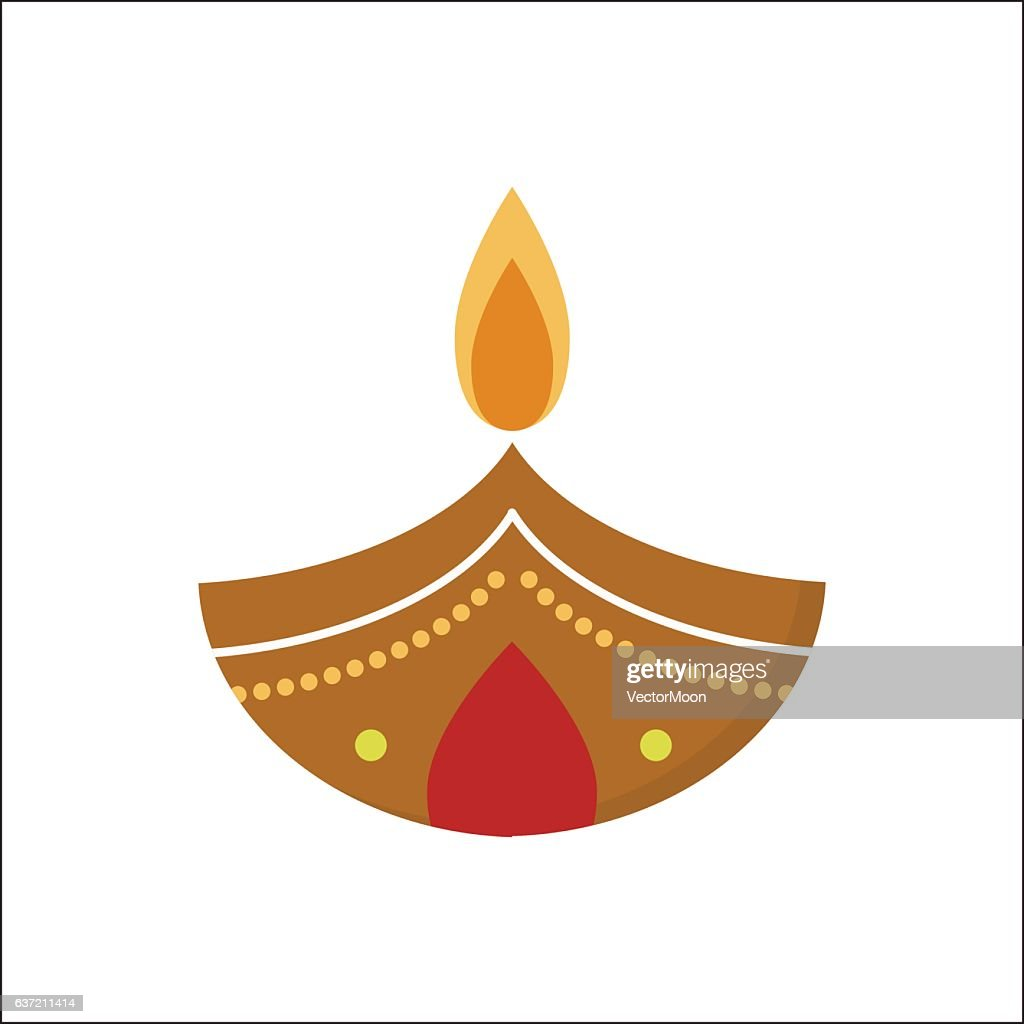 Vector diwali candle.