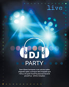 Vector dj party poster template