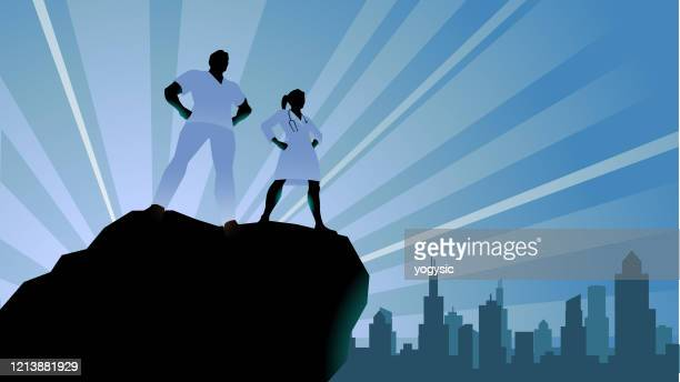 vector doctors superhero silhouette stock illustration - heroes stock illustrations