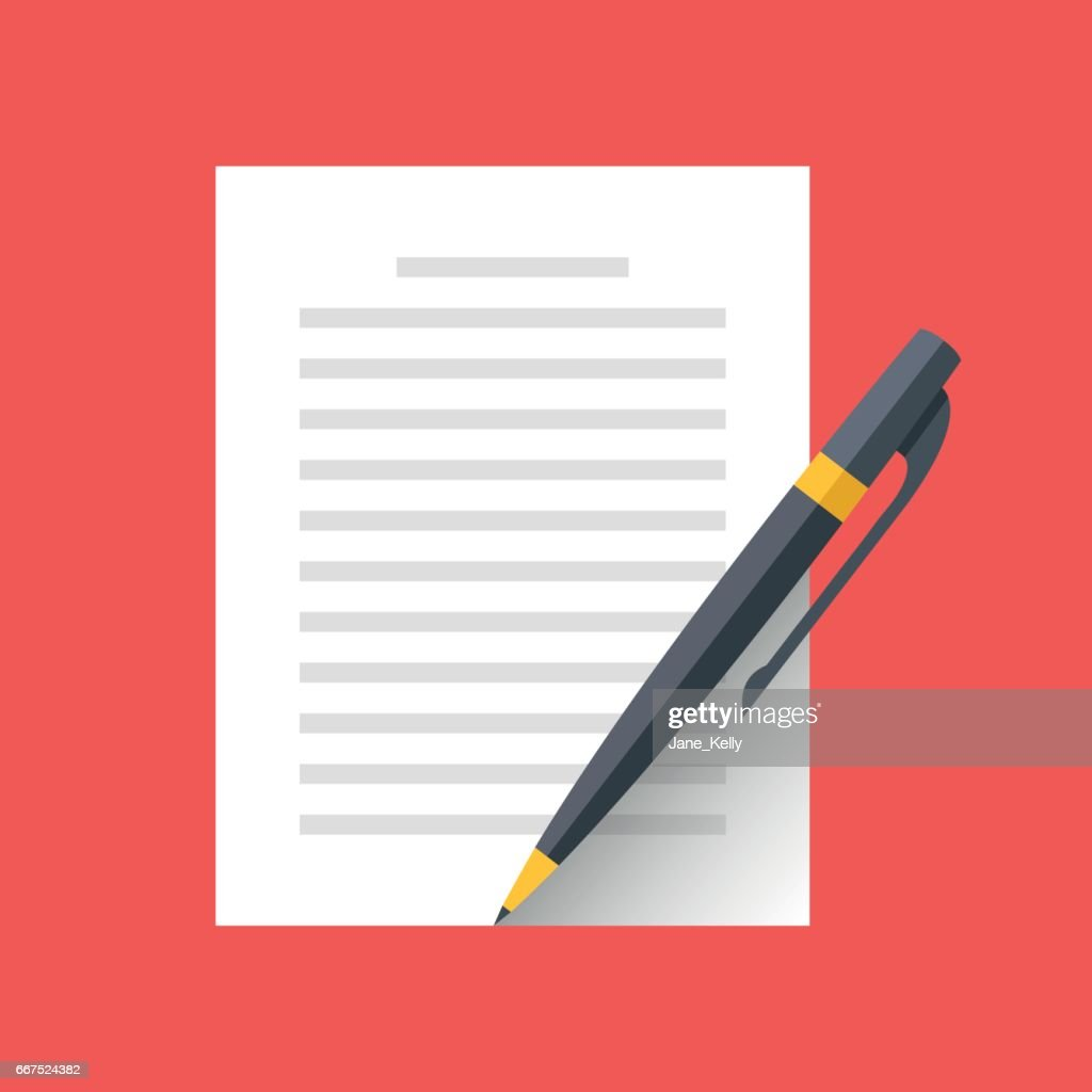 Vector document and pen icon. Singing document, filling form, business contract, application, claim concepts. Modern flat design vector illustration