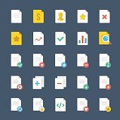 Vector document icons set, file icons. Flat design vector icons