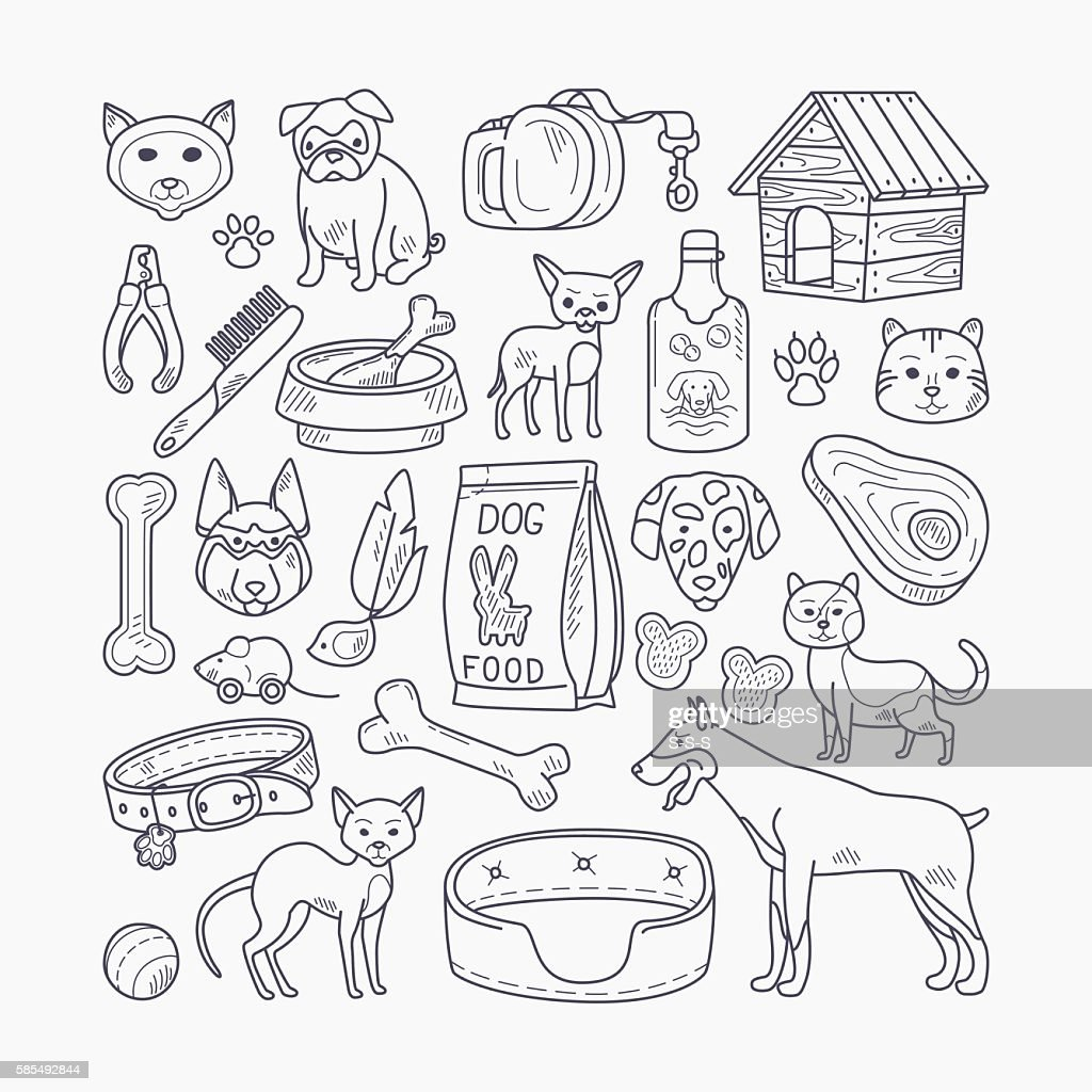 Vector dog and cat signs