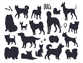 Vector dogs silhouettes.