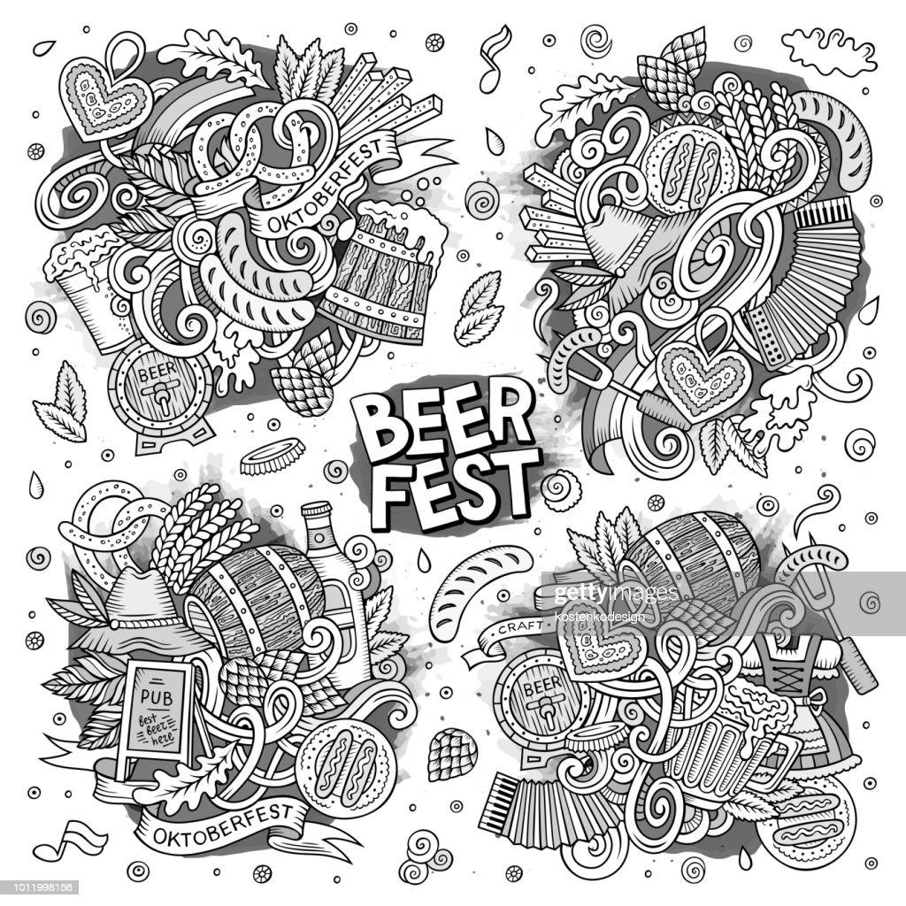Vector doodle cartoon set of Oktoberfest designs