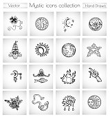 Vector doodle collection with spiritual, religious and esoteric icons and symbols
