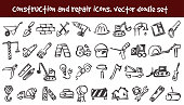 vector doodle construction and repair icons set