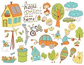Vector doodle cute collection of ecology and family. Nature, alt