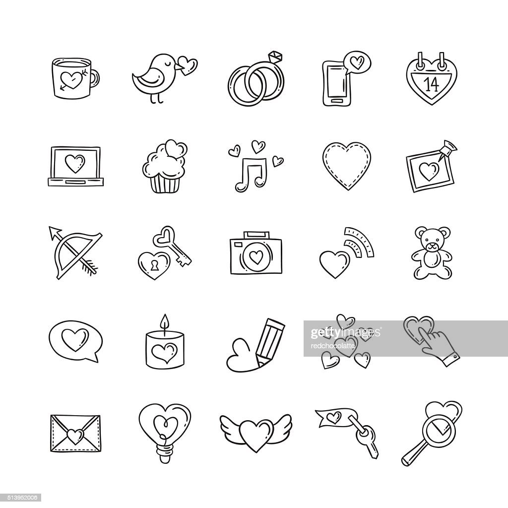 Vector doodle love icons and symbols. Heart, rings, gifts