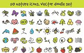 vector doodle nature icons set
