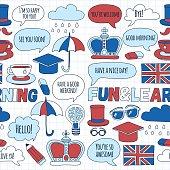 Vector doodle patterns English courses Language school