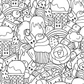 Vector doodle seamless pattern, sweets in cartoon style with ice cream, cupcake and cute rabbits.
