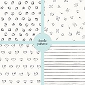 Vector doodle seamless patterns set of four.