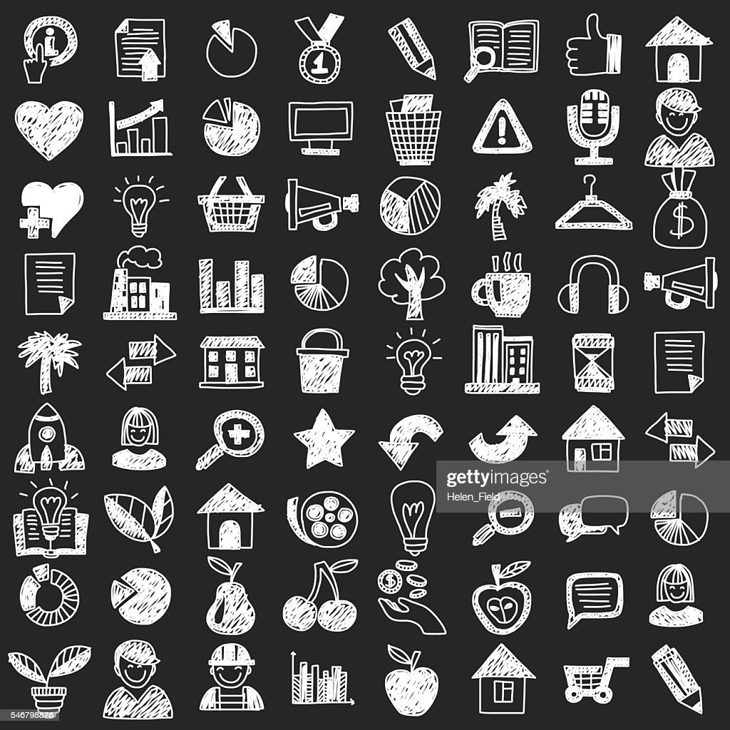 Vector doodle set with business signs, icons