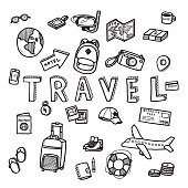 Vector doodle sketch of travel and tourist concept on white background.