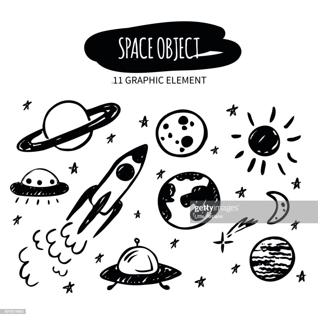 Vector doodle space object. Hand drawn planets, stars, spaceship, ufo. Made with ink. Cartoon graphic element for design and decor.