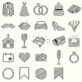 Vector Doodle Style Collection of Wedding Icons