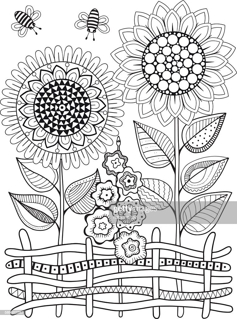 Vector Doodle Sunflowers Coloring Book For Adult Summer ...