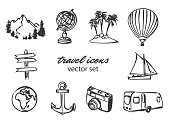 vector doodle travel icons set