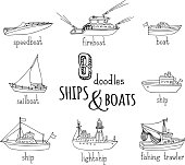 Vector doodles nautical vessel icons set.
