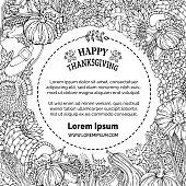 Vector doodles Thanksgiving background.