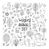 Vector doodles woodland animals set.