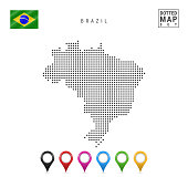 Vector Dotted Map of Brazil. Simple Silhouette of Brazil. The National Flag of Brazil. Set of Multicolored Map Markers