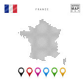 Vector Dotted Map of France. Simple Silhouette of France. The National Flag of France. Set of Multicolored Map Markers