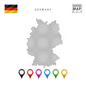 Vector Dotted Map of Germany. Simple Silhouette of Germany. The National Flag of Germany. Multicolored Map Markers