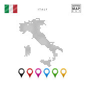 Vector Dotted Map of Italy. Simple Silhouette of Italy. The National Flag of Italy. Set of Multicolored Map Markers