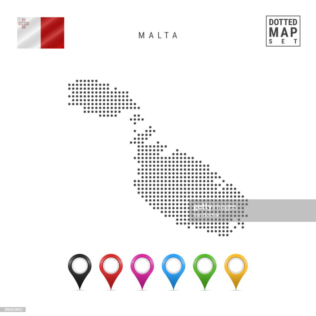 Vector Dotted Map of Malta. Simple Silhouette of Malta. The National Flag of Malta. Set of Multicolored Map Markers