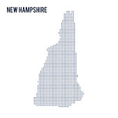 Vector dotted map State of New Hampshire isolated on white background .