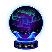 Vector dotted swirls of color northern or polar light in the snow globe isolated on white background.