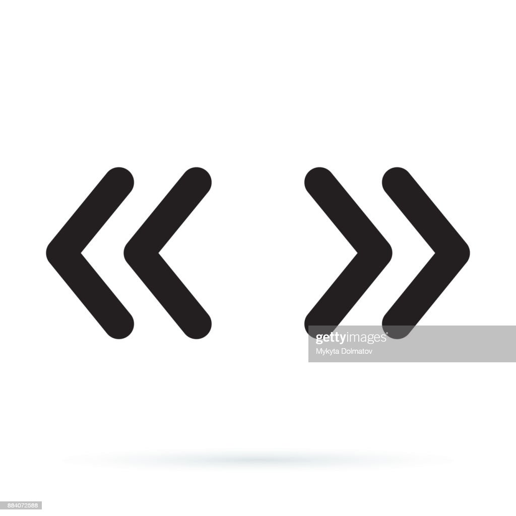 Vector double rounded chevron arrows. Fast forward, skip or next and previous sidebar tab icon.